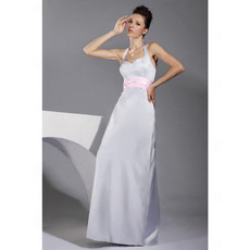 Cheap Custom A-Line Halter Floor Length Satin Bridesmaid Dress for Maid of Honour