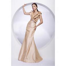 Affordable Princess V-Neck Floor Length Taffeta Evening/ Prom Dress