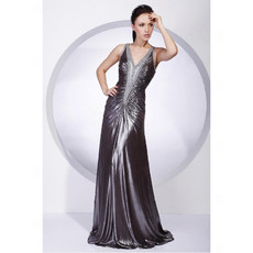 Sexy A-Line V-Neck Floor Length Prom Evening Dress for Women
