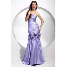 Chic A-Line Strapless Floor Length Prom Evening Dress for Women