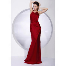 Elegant Mermaid Floor Length Red Satin Prom Evening Dress for Women