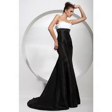 Custom Mermaid/ Trumpet Strapless Satin Prom Evening Dress for Women