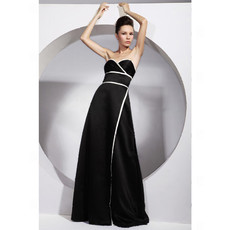 Modern A-Line Sweetheart Black Satin Prom Evening Dress for Women