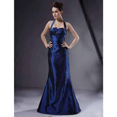 Vintage Mermaid Halter Floor Length Prom Evening Dress for Women