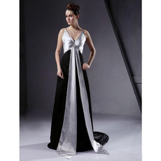 Retro A-Line V-Neck Court Train Prom Evening Dress for Women