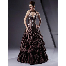 Chic Modern Ball Gown Halter Floor Length Taffeta Prom Evening Dress for Women