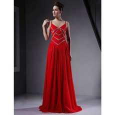 Sexy Floor Length Red Chiffon Prom Evening Dress for Women