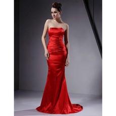 Custom Mermaid Strapless Satin Red Prom Evening Dress for Women