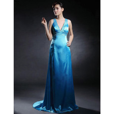 Sexy V-Neck Sweep Train Prom Evening Dress for Women