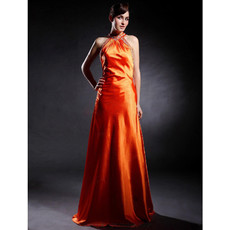 Sexy Halter Floor Length Elastic Woven Satin Prom Evening Dress