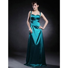 Cheap Modern Empire Floor Length Satin Prom Evening Dress for Women