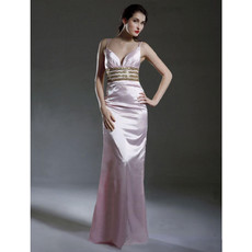 Sexy Modern Sheath Spaghetti Straps Satin Prom Evening Dress for Women