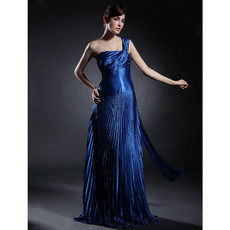 Vintage A-Line One Shoulder Floor Length Prom Evening Dress for Women