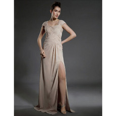 Classic Brush/ Sweep Train Chiffon Prom Evening Dress with Split for Women