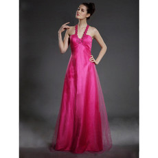 Vintage A-Line V-Neck Floor Length Prom Evening Dress for Women