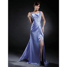 Modern Sheath Straps Watteau Train Prom Evening Dress with Split for Women