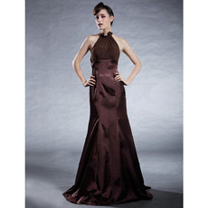 Vintage Mermaid/ Trumpet Halter Elastic Satin Prom Evening Dress for Women