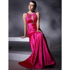 Modern A-Line Floor Length Satin Prom Evening Dress for Women