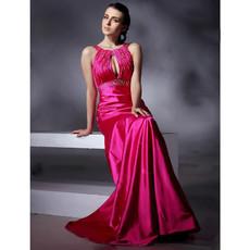 Modern A-Line Floor Length Satin Prom Evening Dress for Women