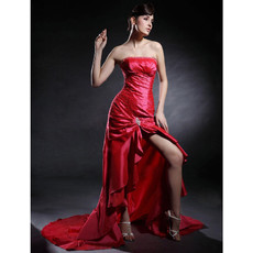 Modern Sheath Strapless Asymmetric Taffeta Prom Evening Dress for Women