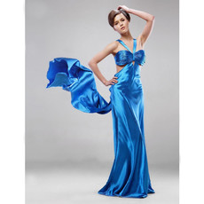 Sexy Modern Sheath/ Column V-Neck Brush Train Prom Evening Dress for Women