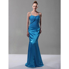 Modern Mermaid/ Trumpet Spaghetti Straps Satin Prom Evening Dress for Women