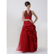 Retro A-Line Floor Length Taffeta Halter Prom Evening Dress for Women