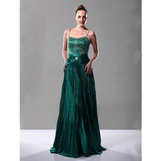 Vintage A-Line Taffeta Spaghetti Straps Prom Evening Dress for Women