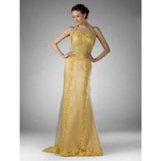 Vintage Sheath/ Column Halter Satin Organza Prom Evening Dress for Women