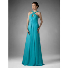 Modern Floor Length Empire Halter Chiffon Prom Evening Dress for Women