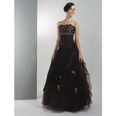 Vintage A-Line Strapless Nylon Taffeta Prom Evening Dress for Women