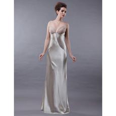Women's Sexy Sheath Spaghetti Straps Satin Prom Evening Dress