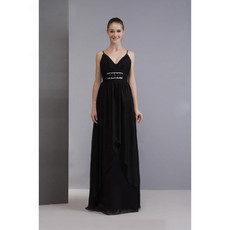 Elegant Spaghetti Straps Black Chiffon Prom Evening Dress