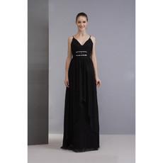 Elegant Spaghetti Straps Black Chiffon Prom Evening Dress