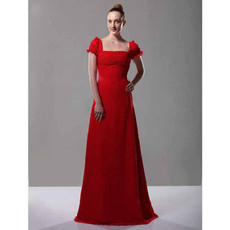 Princess Chiffon Short Sleeves Red Bridesmaid/ Evening/ Prom Dress