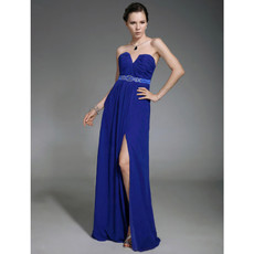 A-Line Sweetheart Sweep Train Blue Chiffon Evening Dress with Split