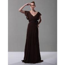 Elegant Retro A-Line V-Neck Floor Length Chiffon Prom Evening Dress