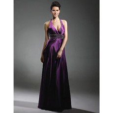 Designer Sexy A-Line Halter Elastic Purple Satin Prom Evening Dress
