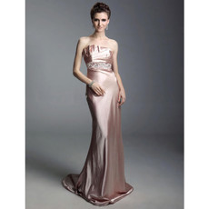 Designer Sheath Strapless Court Train Satin Prom Evening Dress