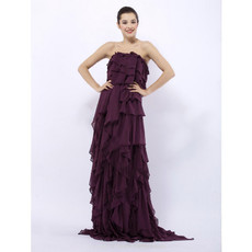 Retro Custom Column Strapless Purple Chiffon Ruffle Prom Evening Dress