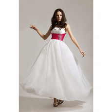 Designer A-Line Strapless White Chiffon Prom Evening Dress