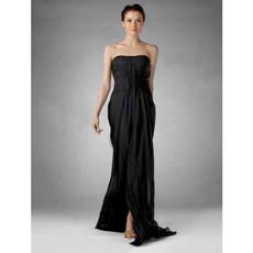 Sexy Column Strapless Floor Length Chiffon Prom Evening Dress