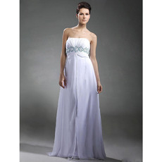 Empire Waist Strapless Floor Length Chiffon Prom Evening Dress for Women