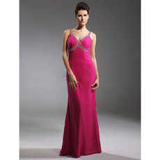 Empire Waist Sheath/ Column V-Neck Chiffon Prom Evening Dress for Women