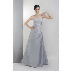 Designer Vintage A-Line Strapless Taffeta Prom Evening Dress for Women