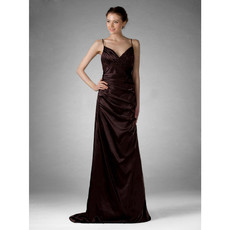 Vintage Spaghetti Straps Satin Prom Evening Dress for Women