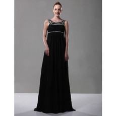 Empire Waist Scoop Chiffon Long Prom Evening Dress for Women