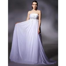 Empire Waist Strapless Long White Chiffon Prom Evening Dress for Women