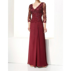 Designer Long Sleeves Floor Length Chiffon Mother of the Bride/ Groom Dress