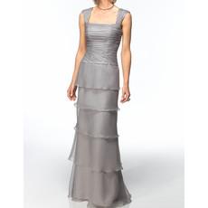 Elegant Sheath Square Floor Length Chiffon Mother Dress with Jackets